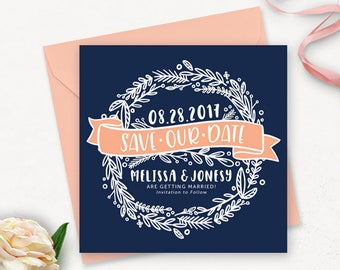 Save the Date Postcard Printable / Floral Save the Date / Printable Engagement Announcement / Printable Navy Save the Date Stationery