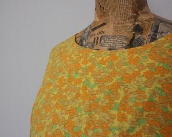Vintage Dress, 1960s Dress, Floral Dress, 1960, Handmade, Sun Dress, Cotton Floral Dress, Vintage Floral, Yellow Vintage Dress
