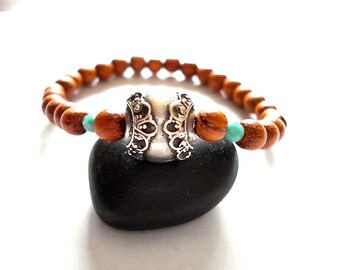 Mala Bead Bracelet, Wooden Mala Beads, Silver, Green Czech Glass Beaded Bracelet