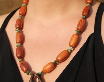Wood Stone and Metal Necklace
