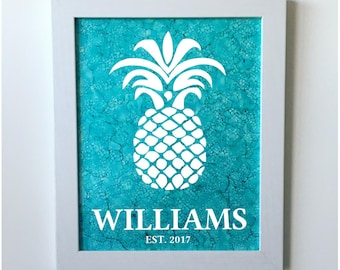 Personalized Hand-painted Pineapple Ink Painting / Personalized Pineapple Wall Art / Pineapple Family Name Welcome Sign