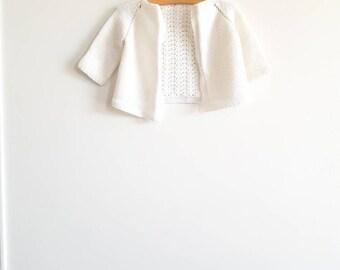 Vintage White Knit Baby Cardigan