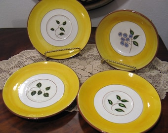 Vintage Stangl Pottery Blueberry Design, 3 Saucers and 1 Small Bowl, Lot of 4