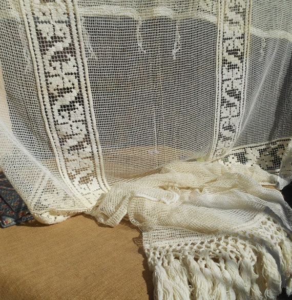 Antique Net Curtain Large Victorian Off White  French Filet Curtain Handmade Cotton Lace Panel Fringe Trimmed #sophieladydeparis