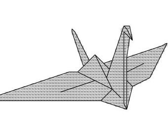 cross stitch pattern paper crane origami wedding peace love luck