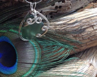 Sage Sea Glass Necklace,  wire wrapped jewellery
