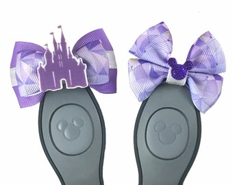 """Galatic Purple Wall Magic Band Bow or Apple Watch Bow, 2"""" Mini Hair Bow, Planner Clip Bow - Disney Parks Collection"""