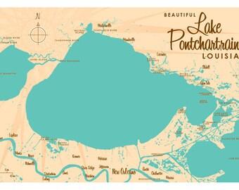 Lake Pontchartrain, LA Map Print
