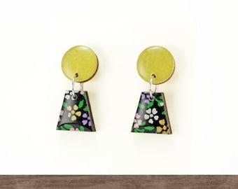 Japanese earrings, Wood dangle earrings, Small dangle earrings, Vintage paper, Black earrings, Floral, Nickel free, Titanium earrings