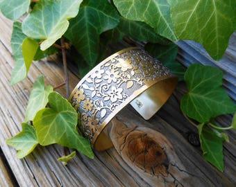 Brass Flower Cuff, Flower Bracelet, Floral Design Jewelry, Flower Gift for her, Brass Cuff, Boho Jewelry, Ready to Ship, Wrap Bracelet