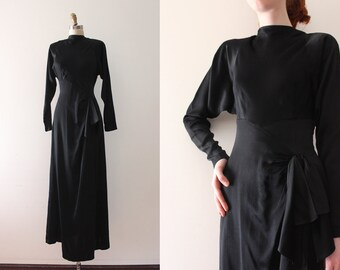 vintage 1930s dress // 30s 40s black batwing sleeve dress