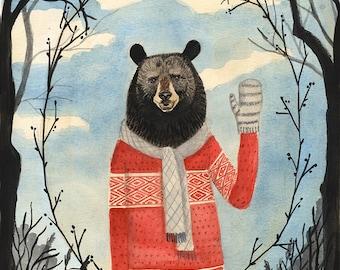 Bear Man - 8x10 PRINT, Old fashion Gentleman, Dark trees, Leaf Framing, Art Illustration, Watercolor Painting,