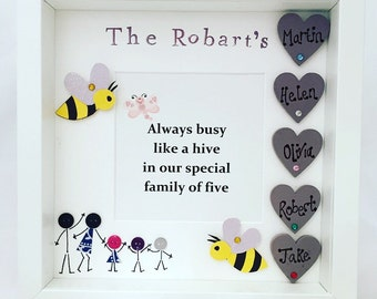 Personalised Family Frame, Gift For Family, Family Tree, Personalised Family, Family Box Frame, Family of Five, Our Family, Hearts, Bees