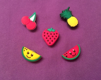 5-pc Fruits Shoe Charms for Crocs, Silicone Bracelet Charms, Party Favors, Jibbitz