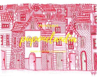 Red ink houses illustration, Printable illustration, House illustration, Red ink illustration, Digital download, Printable Art