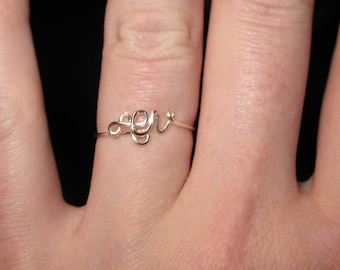 Wire Wrapped YOUR INITIALS In Tiny Upper Case Ring MADE to Order
