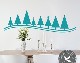 Christmas Tree Line Holiday Wall Vinyl Decal Home Decor Sticker