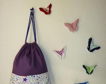 Pochon de rangement personnalisable violet motif étoile