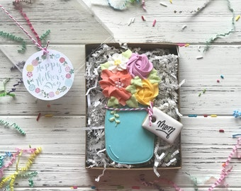 PREORDER Mother's Day Sugar Cookies - Floral Mason Jar Mother's day Gift Box ARRIVES May 10-12 unless otherwise noted