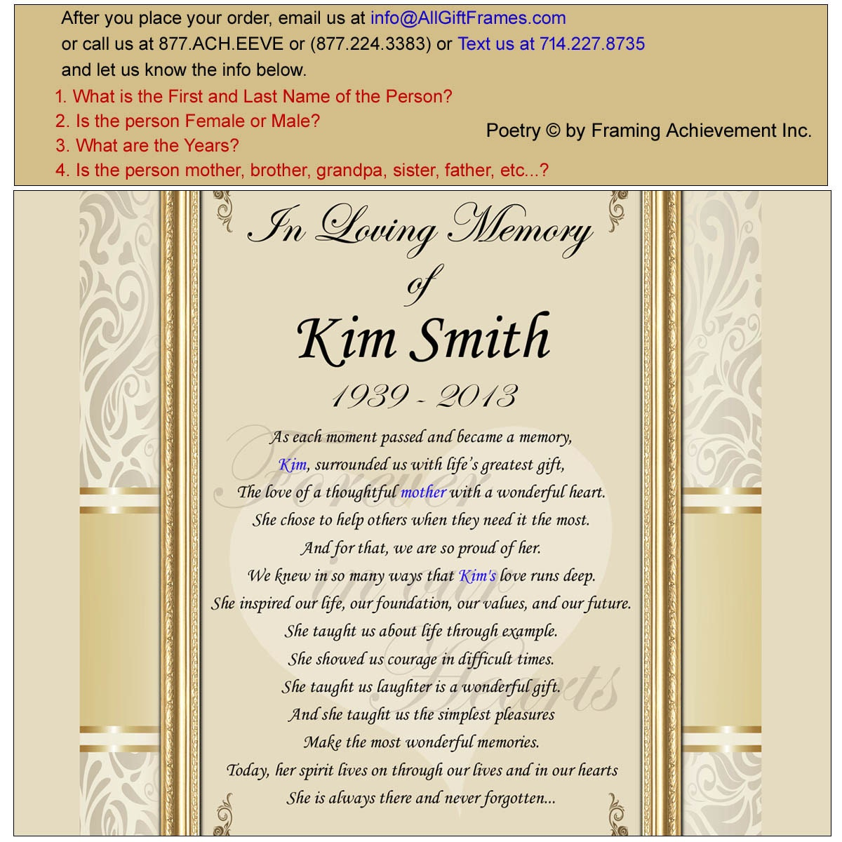 Personalized Poem Gift Framed Plaques and Ornaments with - satukis.info