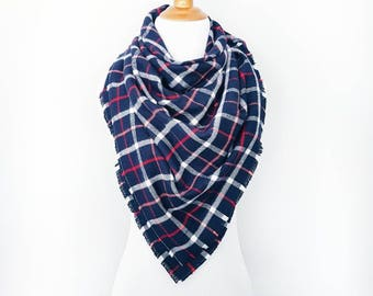 Plaid Blanket Scarf ∙ Fringe Detail ∙ Cotton