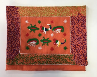 Handmade ethical embroidered iPad Case / Clutch bag - animal Malagasy design
