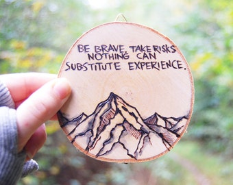 Wall Hanging Mountains with quote of choice | Wood Burn Art