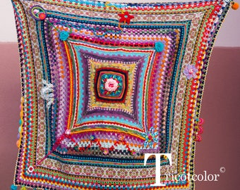 Tricotcolor Plaid wool jacquard handspun Wool Lace knitted crochet flowers Ribbon fringe beads tassel buttons home blanket multico