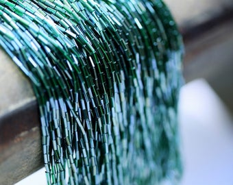 "Strand of round tubes 2 ""Emerald threaded Luneville embroidery Bohemian glass"