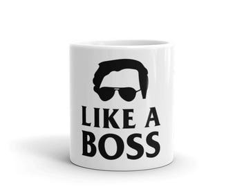 Like a Boss Coffee Mug - Hustle Hard Mug - Like a Boss Graphic Mug - Hustle Like a Boss Mug - Funny Like a Boss Mug - Hustle Mug