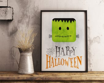 Funny halloween print, halloween printable decor, quote print, halloween wall art, scary holiday, green home decor, instant download