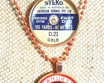 Genuine vintage Dewhursts Sylko cotton reel spool label pendant and chain - choose one / rose gold tone setting/  great sewing gift