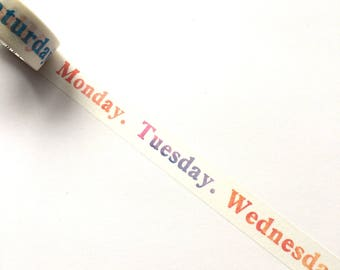 Colourful days of the week washi tape