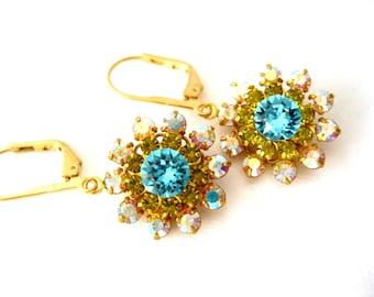Aqua and Lime Crystal Earrings Swarovski dangles Matte Gold plated handmade earrings Crystal Flower