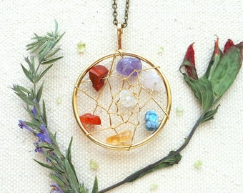 Boho dream catcher necklace long pendant necklace chakra necklace hippie jewelry dreamcatcher necklace chakra jewelry