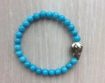 Seashell bracelet, cone shell bracelet with mountain jade beads, Hawaiian seashell jewelry, surfer girl bracelet