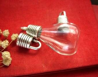 Set of 10 vials (Cfedc) tassel necklace, silver metal caps