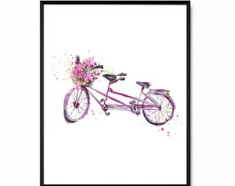 Tandem bike print - Cycling poster - Vintage tandem bicycle with flowers - Bicycle art - Hand drawn watercolor decor - Instant Download