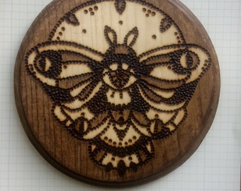 Wood-Burned Moth Plaque