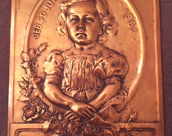 Antique Victorian Signed Copper Plaque for Child Theodor Possibly Mourning
