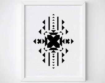 Aztec Geometric Pattern Art Print, Aztec Art Print, Tribal Wall Art, Aztec wall art, Pattern Geometric Printable, Tribal Art Print