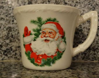 1950's Santa Mug, Waving Santa Christmas Mug, Hot Cocoa Mug, Coffee Mug, Christmas, Fathers Day Mug Christmas Cookie mug, ceramic coffee mug