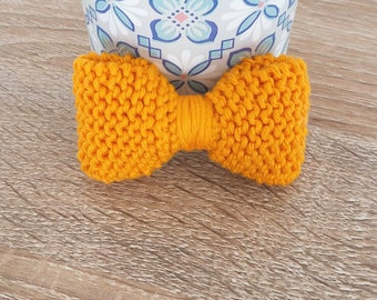 Maxi - cotton knit - yellow agate and Ana bow brooch