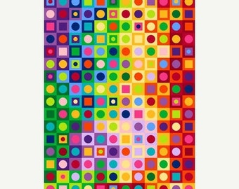 20% off thru Apr 24th COLORWORKS Northcott Fabric panel cotton quilt fabric circles dots squares in squares cheater cloth