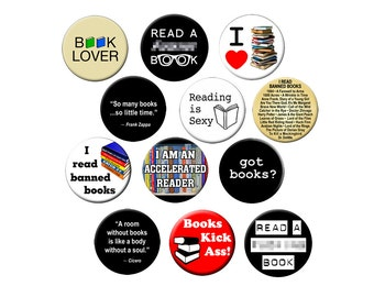 12 Book-Lover Pins - For Librarians and Book Readers  - 12 Small 1.25 inch Reading Pin Back Badges or Buttons