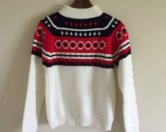 Red, White, and Navy Blue Geometric Holiday Sweater / Retro Christmas Sweater / Vintage JCPenney / Men's XS / Women's Small