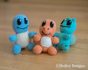 Mini Knitted Plush Squirtle, Bulbasaur, and Charmander Starter Set