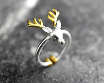 """925 Sterling Silver Ring """"Deer Antler"""""""