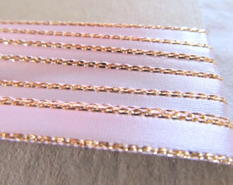 METALLIC EDGE RIBBON  --palest pink with gold edge -- (66  inches, slightly over 1/4 yard)