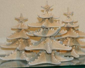 8 to 10 inches White Knobby starfish Christmas tree made of starfish sea stars
